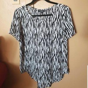 Premise white and black sheer blouse